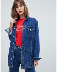 Mango - Longline Denim Jacket - Lyst