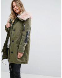 Vero Moda - Contrast Faux Fur Parka - Lyst