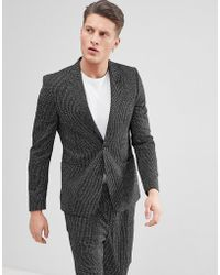 ASOS - Asos Skinny Suit Jacket In Black And White Vertical Stitch - Lyst
