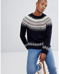 ASOS - Asos Fairisle Wool Mix Sweater In Navy - Lyst