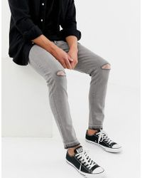 D-Struct - Skinny Fit Ripped Knee Denim Jeans In Grey - Lyst