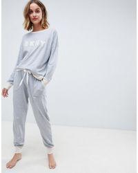 DKNY - Long Sleeve Logo Top And Jogger Pyjama Set - Lyst