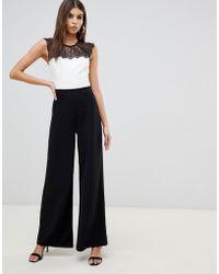 7ee69ee7017 Lyst - Lipsy Michelle Keegan Loves Tuxedo Jumpsuit - 011 Black in Black