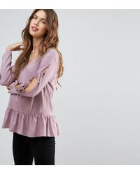 ASOS - Tie Detail Smock Top With V Neck - Lyst