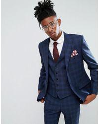 Rudie - Blue Prince Of Wales Check Skinny Fit Suit Jacket - Lyst