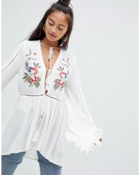 Glamorous - Bird Embroidered Top - Lyst