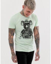 Blend - Camiseta de corte slim con estampado de koala en verde claro de - Lyst