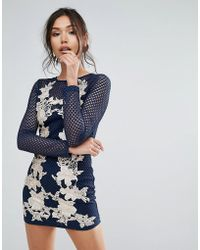 Club L - Fishnet Long Sleeve Bodycon Dress With Rose Embroidery - Lyst