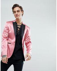 ASOS - Asos Super Skinny Tuxedo Blazer In Pink Sateen - Lyst