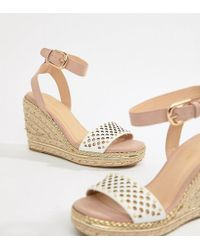 River Island - Wide Fit Espadrille Wedge Heels In Nude - Lyst