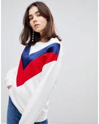 Stradivarius - Contrast Stripe Sweatshirt - Lyst