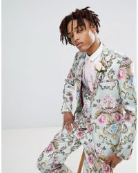 ASOS - Wedding Skinny Suit Jacket In Pastel Floral Jacquard - Lyst