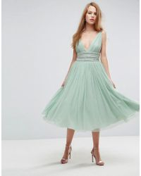 ASOS - Tulle Strappy Embellished Midi Skater Dress - Lyst