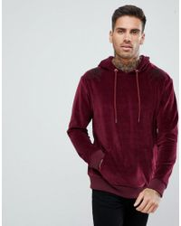 Boohoo - Velour Hoodie With Floral Embroidery In Burgundy - Lyst