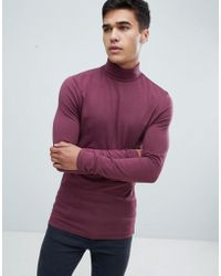 ASOS - Muscle Fit Long Sleeve T-shirt With Roll Neck In Red - Lyst