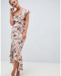 ASOS - Pretty Light Floral Print Ruffle Maxi Dress - Lyst