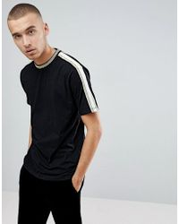 ASOS - T-shirt With Gold Tipping And Taping - Lyst