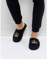 ASOS - Asos Slip On Slippers In Black With Crown Embroidery - Lyst
