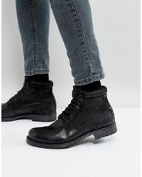 Jack & Jones - Justin Leather Mix Lace Up Boots - Lyst
