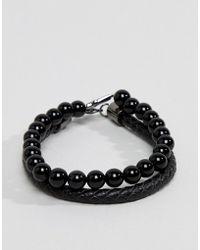 Simon Carter - Onyx Beaded Bracelet With Cross Charm & Black Leather Bracelet In 2 Pack - Lyst