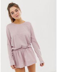 ASOS - Mix & Match Marl Long Sleeve Pyjama Jersey T-shirt - Lyst