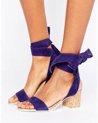 Dune - Jonee Suede Wraparound Block Heel Sandals - Lyst