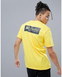 Columbia - Back Logo Print T-shirt In Yellow/navy - Lyst