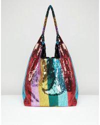 ASOS - Design Sequin Stripe Shopper Bag - Lyst