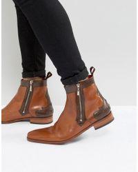 Jeffery West - Scarface Brogue Zip Boots In Tan Leather - Lyst