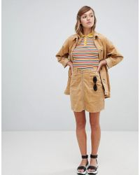 Monki - Cord Zip Up Mini Skirt In Beige - Lyst