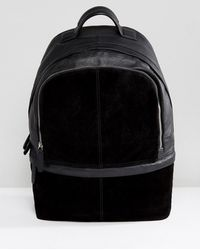 ASOS - Backpack In Black Suede And Leather - Lyst
