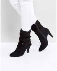 Dune - Head Over Heels Rayna Black Heeled Ankle Boots - Lyst