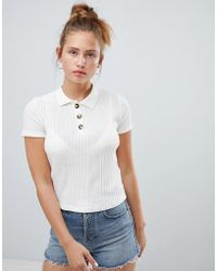 Pull&Bear - Knitted Polo Top In Cream - Lyst