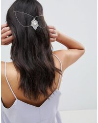 ASOS DESIGN - Design White Filigree Petal And Jewel Back Hair Chain - Lyst