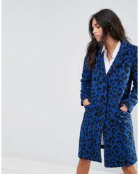 Helene Berman - Wool Blend Animal Print University Coat - Lyst