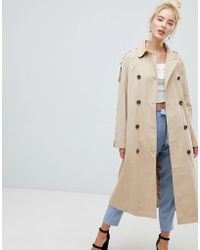 Fashion Union - Belted Mac Jacket With Storm Flaps And Contrast Lining - Lyst