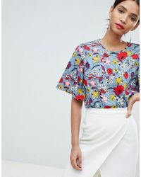 Y.A.S - Bold Floral Top With Kimono Sleeve - Lyst