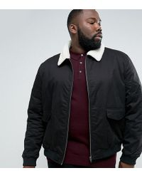 French Connection - Plus Checked Lined Harrington Jacket With Borg Collar - Lyst