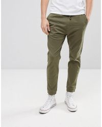 Hollister - Cuffed Twill Stretch Jogger In Forest Night Olive - Lyst