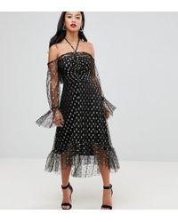 John Zack - Long Sleeve Cold Shoulder Metallic Star Print Midi Dress With Thigh Split - Lyst