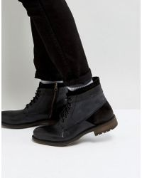 Steve Madden - Hardin Leather Boots In Black - Lyst