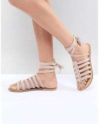 New Look - Suede Cage Gladiator Flat Sandal - Lyst