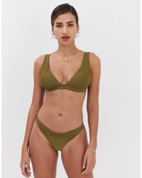 be7154a4a4dc3 ASOS Seafolly Goddess Soft Cup Halter Bikini Top in Blue - Lyst