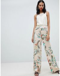 Missguided - Satin Tropical Print Wide Leg Trousers - Lyst