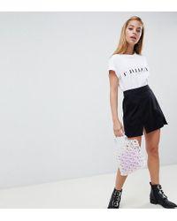 ASOS - Denim Mini Skirt In Washed Black With Split Detail - Lyst