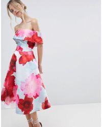 Coast - Casis Bardot Floral Printed Volume Dress - Lyst