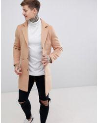 BoohooMAN - Overcoat In Camel - Lyst