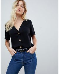 ASOS - Boxy Top With Contrast Buttons - Lyst