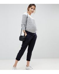 ASOS - Asos Design Maternity Chino Trousers In Navy With Under The Bump Waistband - Lyst