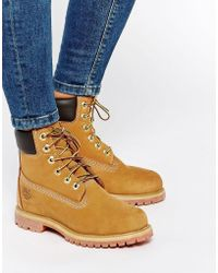 Timberland - 6 Inch Premium Lace Up Beige Flat Boots - Lyst
